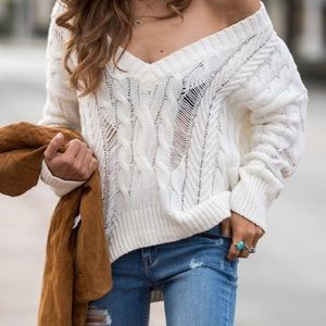 Express Distressed V-Neck Sweater